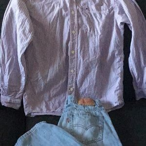 Tommy striped button up and Light blue jeans